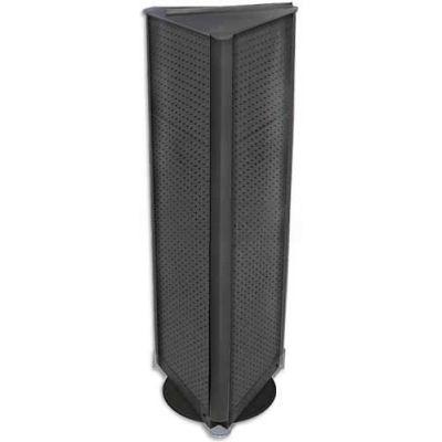 "Azar Displays 700450-BLK Three-Sided Spinning Pegboard Floor Display, 16"" x 60"", Black Solid"