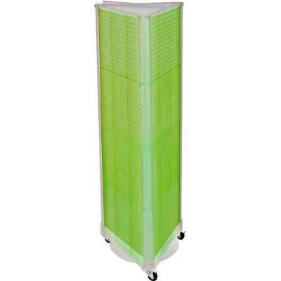 "Azar Displays 700451-GRE Three-Sided Spinning Pegboard W/ Wheels, 16"" x 60"", Green Opaque ,1 Piece"