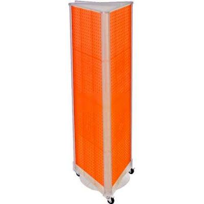"""Azar Displays 700451-ORG Three-Sided Spinning Pegboard W/ Wheels, 16"""" x 60"""", Orange Opaque ,1 Piece"""