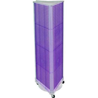 "Azar Displays 700451-PUR Three-Sided Spinning Pegboard W/ Wheels, 16"" x 60"", Purple Opaque ,1 Piece"