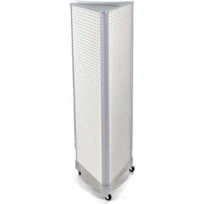 "Azar Displays 700451-WHT Three-Sided Spinning Pegboard W/ Wheels, 16"" x 60"", White Solid ,1 Piece"