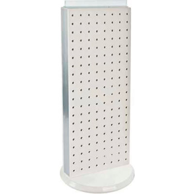 "Azar Displays 700509-WHT Two-Sided Non-Revolving Pegboard Countertop Display, 8"" x 20"", White"