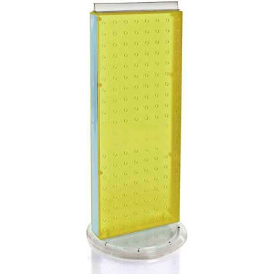 "Azar Displays 700509-YEL Two-Sided Non-Revolving Pegboard Countertop Display, 8"" x 20"", Yellow"