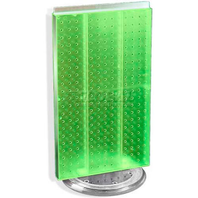 "Azar Displays 700513-GRE Two-Sided Revolving Pegboard Countertop Display, 13.5"" x 22"", Green"