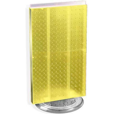 """Azar Displays 700513-YEL Two-Sided Revolving Pegboard Countertop Display, 13.5"""" x 22"""", Yellow"""
