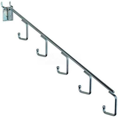 """Azar Displays 700860 5-Station Waterfall Faceout Hook For Pgbrd/Slatwall-15"""" L-Chrome- Pkg Qty 10"""