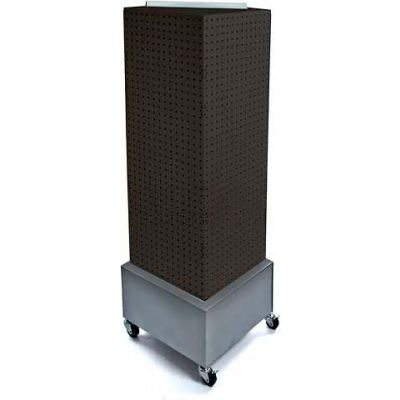 "Azar Displays 701415-BLK Interlocking Pegboard Countertop Display W/ Wheels, 14"" x 40"", Black Solid"