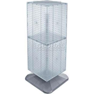 "Azar Displays 701435-CLR 4-Sided Interlocking Pegboard Floor Display, 14"" x 40"", Clear Opaque"