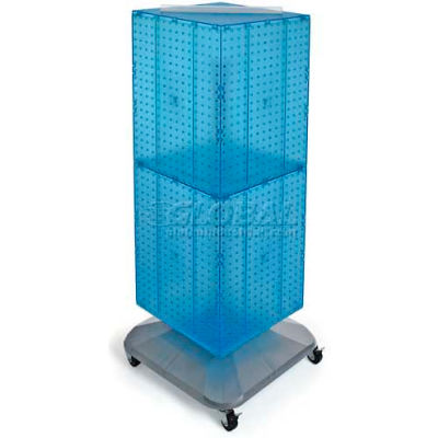 "Azar Displays 701436-BLU 4-Sided Interlocking Pegboard Floor Display, 14"" x 40"", Blue Opaque"