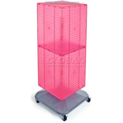 "Azar Displays 701436-PNK 4-Sided Interlocking Pegboard Floor Display, 14"" x 40"", Pink Opaque"