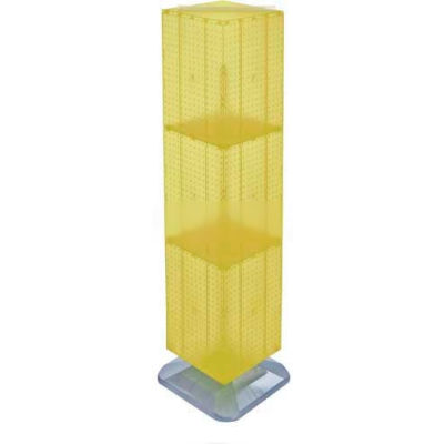 "Azar Displays 701464-YEL 4-Sided Interlocking Pegboard Floor Display, 14"" x 60"", Yellow Opaque"