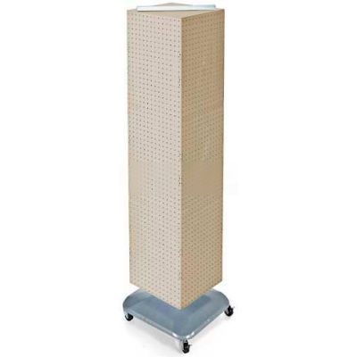 "Azar Displays 701465-ALM 4-Sided Interlocking Pegboard Floor Display W/ Wheels, 14"" x 60"", Almond"