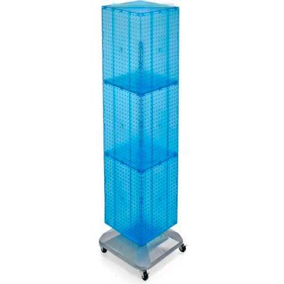 "Azar Displays 701465-BLU 4-Sided Interlocking Pegboard Floor Display W/ Wheels, 14"" x 60"", Blue"