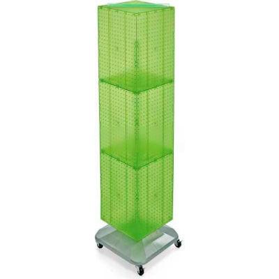 "Azar Displays 701465-GRE 4-Sided Interlocking Pegboard Floor Display W/ Wheels, 14"" x 60"", Green"