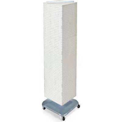 "Azar Displays 701465-WHT 4-Sided Interlocking Pegboard Floor Display W/ Wheels, 14"" x 60"", White"