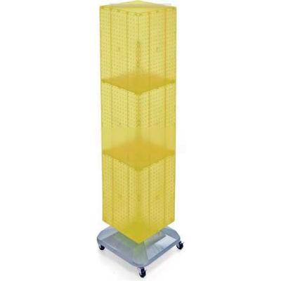 "Azar Displays 701465-YEL 4-Sided Interlocking Pegboard Floor Display W/ Wheels, 14"" x 60"", Yellow"