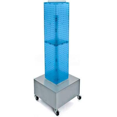 """Azar Displays 703386-BLU 4-Sided Interlocking Pegboard Display W/ Wheels, 8"""" x 40"""", Blue Opaque"""