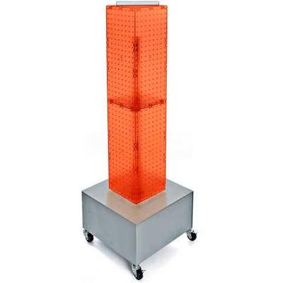"""Azar Displays 703386-ORG 4-Sided Interlocking Pegboard Display W/ Wheels, 8"""" x 40"""", Orange Opaque"""