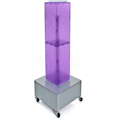 "Azar Displays 703386-PUR 4-Sided Interlocking Pegboard Display W/ Wheels, 8"" x 40"", Purple Opaque"