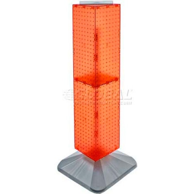 "Azar Displays 703387-ORG 4-Sided Interlocking Pegboard Display, 8"" x 40"", Orange Opaque ,1 Piece"