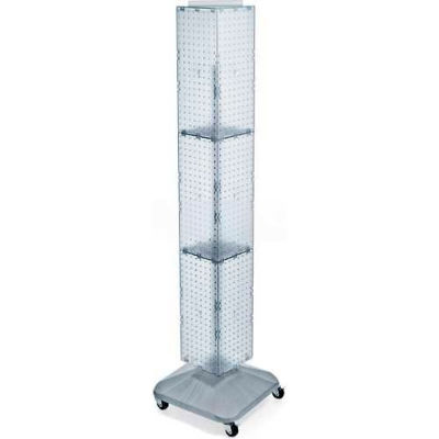 "Azar Displays 703390-CLR 4-Sided Interlocking Pegboard Display W/ Wheels, 8"" x 60"", Clear Opaque"