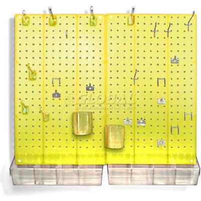 Azar Displays 900945-YEL Pegboard Room Organizer Kit, Hardware Included, Yellow Opaque ,1 Piece