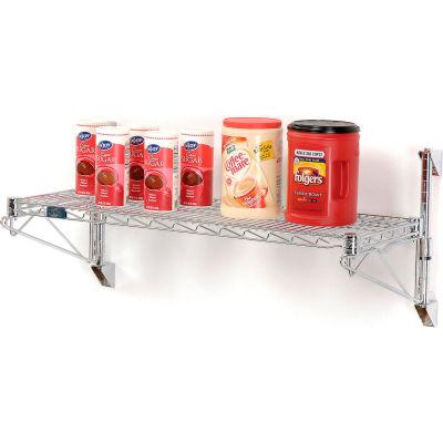 "Nexel® Chrome Wall Mount Wire Shelving 24""W x 14""D x 14""H 1 - Shelf Starter"
