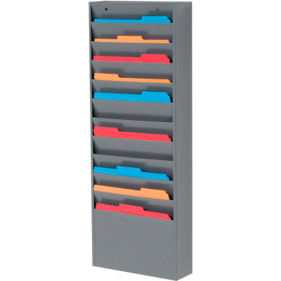 Global Industrial™ 11 Pockets - Medical Chart Hanging Wall File Holder - Gray
