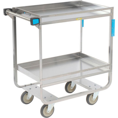 Lakeside® 725 Guard Rail Stainless 2 Shelf Cart 32 x 19 x 34 700 Lb Cap