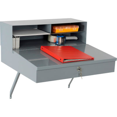 """Global Industrial™ Wall Mount Shop Desk - Pigeonhole Compartment Riser 24""""W x 22""""D x 12""""H Gray"""