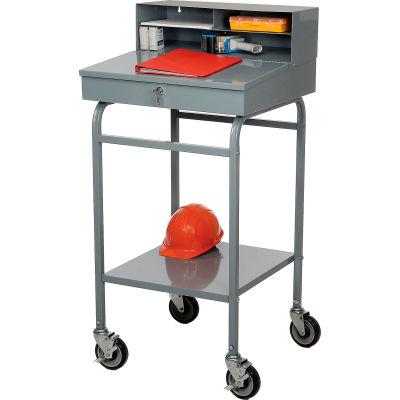 """Winholt Mobile Open-Base Shop Desk RDMWN-3 with Pigeonhole Riser 24""""W x 22""""D x 48""""H - Sloped - Gray"""
