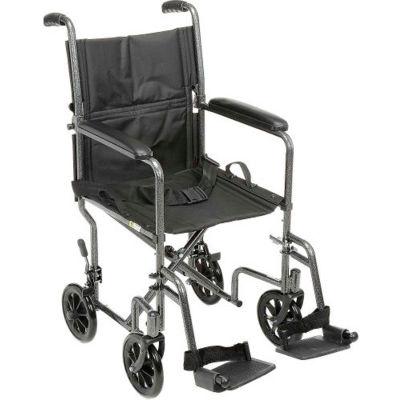 Fauteuil roulant de transport en acier léger, siège de 19 po de largeur, structure argentée et revêtement noir