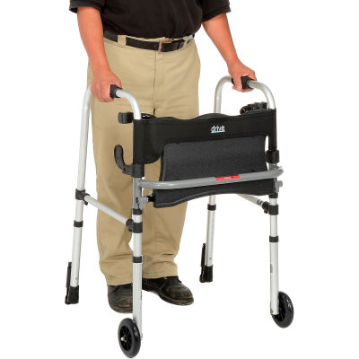 Drive Medical 10233 Clever-Lite LS Rollator Walker with Seat and Push Down Brakes