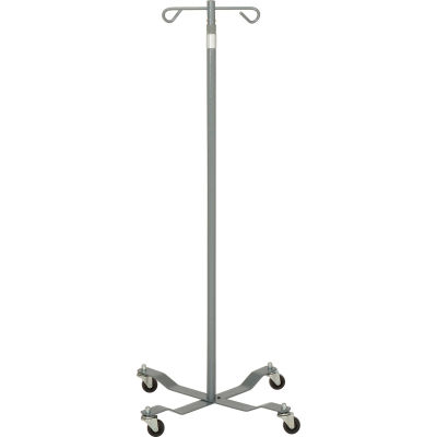 """Drive Medical 13033SV Economy Removable Top IV Pole, Silver Vein, 2 Hook, 40""""- 82"""" Height"""