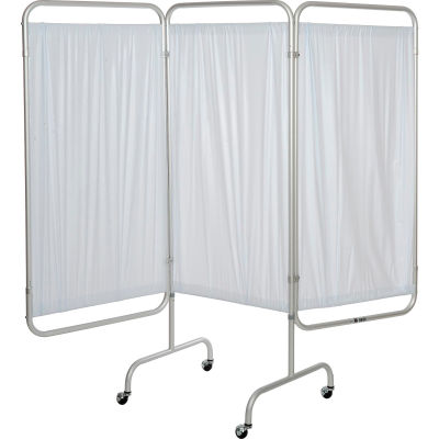 """Drive Medical 13508 3-Panel Patient Privacy Screen, White Vinyl Panels and 1"""" Dia. Aluminum Tubing"""