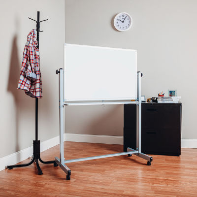 """Global Industral™ Mobile Reversible Magnetic Whiteboard - 36""""W X 24""""H - Steel - SIlver Frame"""