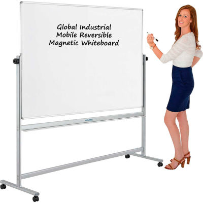 """Global Industrial™ Mobile Reversible Whiteboard With Silver Frame, 72""""W x 48""""H"""