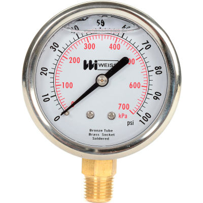 "2 1/2"" dial, liquid filled, 1/4"" NPT bottom, 0-100 PSI"