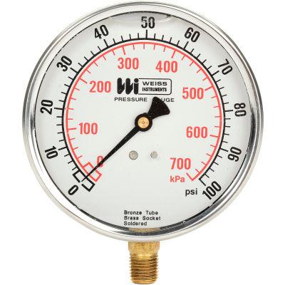 "4"" dial , liquid filled, 1/4"" bottom, 0-100PSI"