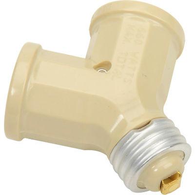 Leviton 128-00I Twin Incandescent Lampholder Socket Adapter, Ivory - Pkg Qty 10