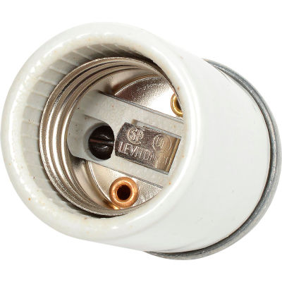 Leviton 10049 Medium Base, Incandescent, Glazed Porcelain Lampholder, White - Pkg Qty 10