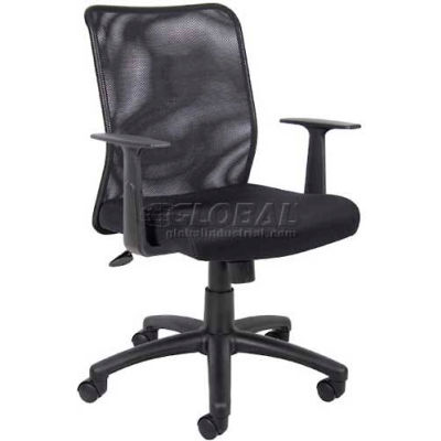 Interion® Mesh Task Chair with Arms - Fabric - Mid Back - Black