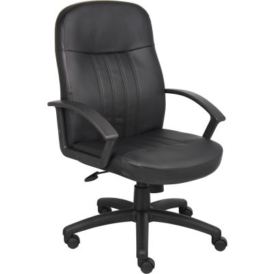 Interion® Executive Office Chair With High Back & Fixed Arms, Synthetic Leather, Black