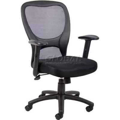 Interion® Mesh Task Chair with Arms - Fabric - High Back - Black