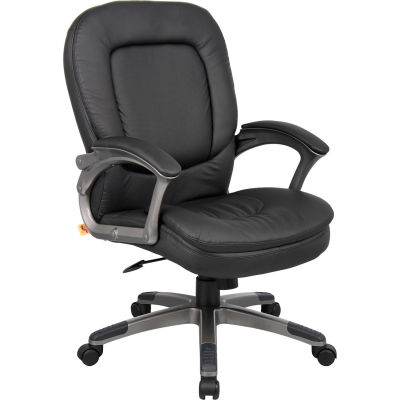 Boss Office Chair with Arms and Pillow Top - Vinyl - Mid Back - Black