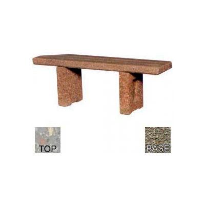 "48"" Commercial Flat Concrete Bench, Polished Gray Limestone Top, Gray Limestone Leg"