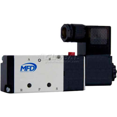 """Bimba-Mead Pilot Solenoid Valve M4V110-06-24VDC, 5 Port, 2 Pos, Single, 1/8"""" NPT, 24VDC, Cv=0.67"""