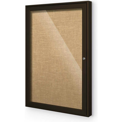 "Balt® Indoor Enclosed Bulletin Board - 1 Door - Cork - Coffee Aluminum Frame - 24""W x 36""H"