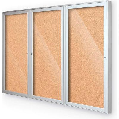 "Balt® Indoor Enclosed Bulletin Board - 3 Door - Cork - Silver Aluminum Frame - 72""W x 36""H"