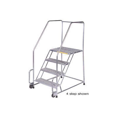 """6 Step 16""""W Stainless Steel Tilt and Roll Ladder - Heavy Duty Serrated Grating w/ Cal OSHA Handrail"""